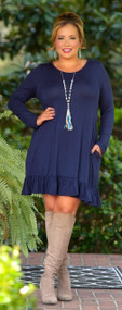 Looking For Trouble Dress -Navy