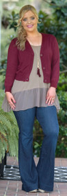 Promises Delivered Cropped Cardigan - Wine
