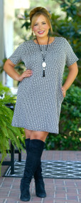 Great Instincts Dress - Black & Cream***FINAL SALE***