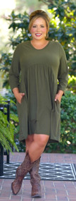 Take The Leap Dress - Olive