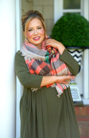 Wrapped In Warmth Scarf - Orange Plaid