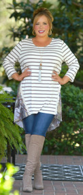 Get In Line Tunic - Taupe & Brick