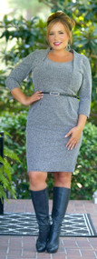 Mind Your Business Dress - Grey Mix