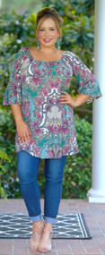 Teal Death Do Us Part Tunic - Multi