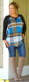 Midtown Mover Top - Blue Plaid