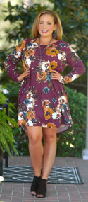 Floral Addiction Dress - Burgundy***FINAL SALE***