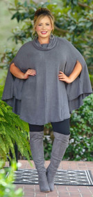 Sock It To Me Poncho - Charcoal Grey