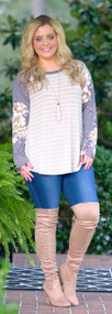 Patch Perfection Top - Taupe