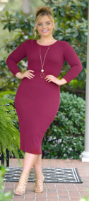 Meet Me In The Middle Dress - Burgundy***FINAL SALE***