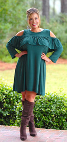 Completely Charmed Dress - Hunter Green