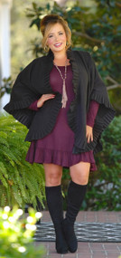 She's Glamorous Ruffle Wrap Coat - Black
