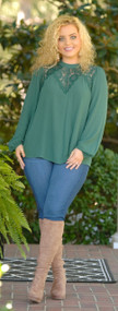 Well Worth It Lace Top - Hunter Green
