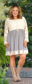 Nothin' Like You Lace Dress - Grey