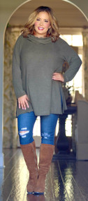 Just A Small Town Girl Tunic - Olive