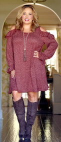 Keep An Open Mind Dress - Marsala