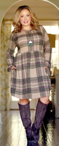 So Plaid To Meet You Dress - Mocha