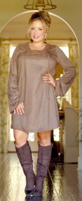Crush On you Suede Dress - Brown