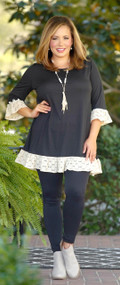 Make No Mistakes Lace Ruffle Tunic - Black