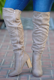 Back It On Up Knee Boots - Taupe