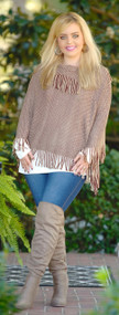 So Long Ago Fringe Poncho - Taupe