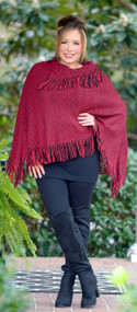 So Long Ago Fringe Poncho - Red & Black