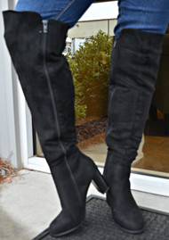 Back It On Up Knee Boots - Black