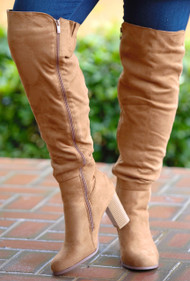 Back It On Up Knee Boots - Tan