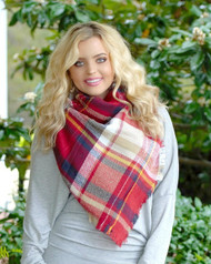 Just A Little Extra Blanket Scarf - Navy & Red
