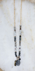 You're My Rock Necklace - Black & Gray