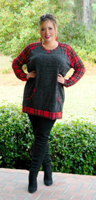 Around The Block Sweater Top - Charcoal