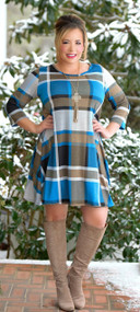 On A Whim Dress - Blue Plaid