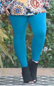 So Very Luxe Ankle Length Leggings  - Teal Blue