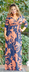 Into Your Arms Dress - Navy/Coral