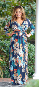 Let The Day Begin Maxi Dress - Navy