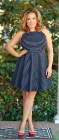 Walk This Way Striped Dress - Navy