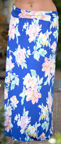 Sit Next To Me Floral Maxi Skirt - Blue