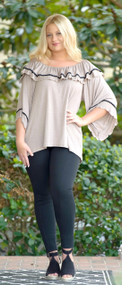 In Your Eyes Ruffle Top - Taupe