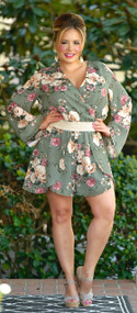Try Your Best Floral Romper - Sage