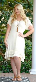 Naturally Charming Ruffle Dress - Cream