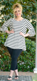Going Crazy For You Striped Top - Black