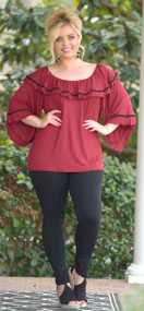In Your Eyes Ruffle Top - Burgundy