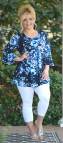Keep Them Guessing Floral Top - Navy