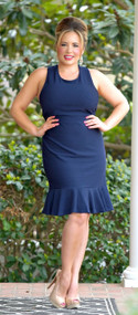 Bend The Rules Ruffle Dress - Navy