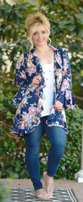 Budding Love Floral Cardigan - Navy