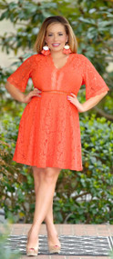 I Adore You Lace Dress - Coral