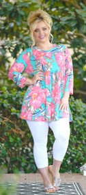 Tropical Oasis Floral Top - Mint