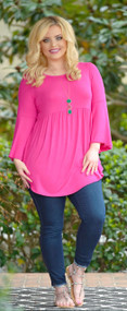 Everywhere I Go Tunic Top - Hot Pink