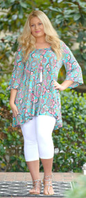 Draw You In Paisley Tunic Top - Mint
