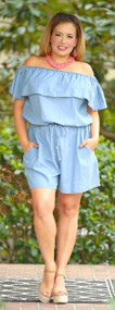 Down Memory Lane Off The Shoulder Chambray Romper