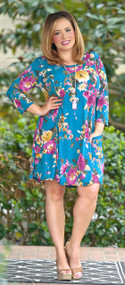 This Story Never Ends Floral Dress - Teal